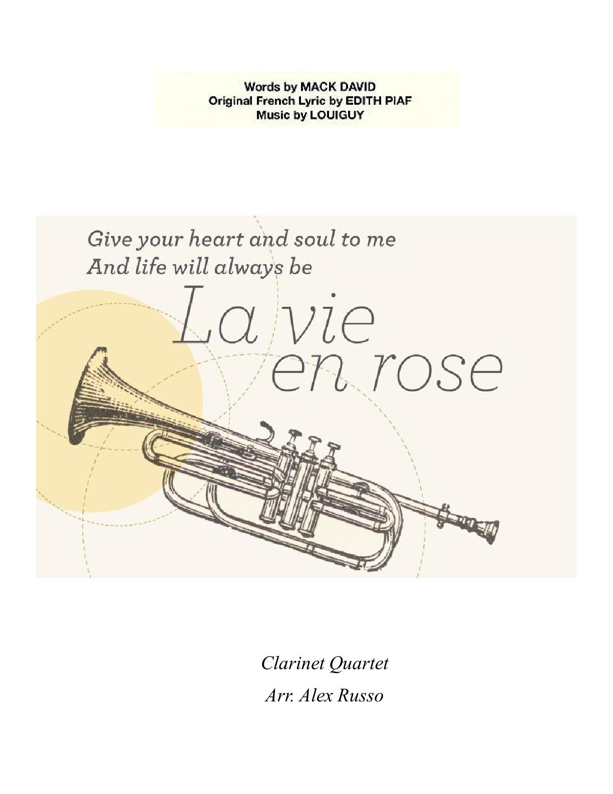 la vie en rose clarinet quartet arr alex russo pdf download. Black Bedroom Furniture Sets. Home Design Ideas